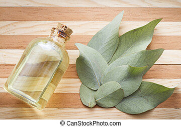 eucalyptus leaves and oil on the table top view