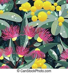 eucalyptus, modèle, arbre, seamless, gencive, vecteur, fleur