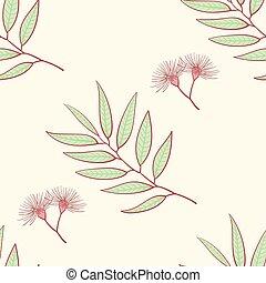 Eucalyptus seamless pattern, blue agonis thyme asparagus set