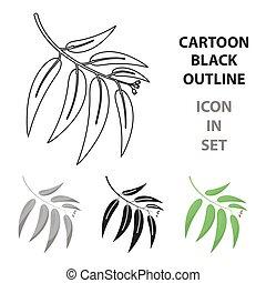 eucalyptus, style, toile, vecteur, dessin animé, icône