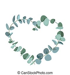 Eucalyptus tropical plant in form of heart on white background. Flat tropic border.
