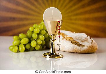 eucaristía, símbolo, anfitrión, cáliz, comunión, Plano de...