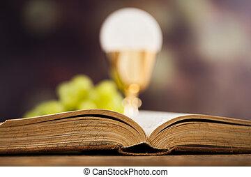 eucaristia, bíblia, comunhão, sacramento, fundo