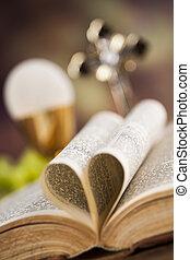 eucharist, シンボル, ホスト, 聖杯, 聖餐, 背景, ワイン, bread, 最初に