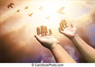 eucharist, 開いた, やし, 人間, 神, カトリック教, の上, repent, キリスト教徒, イースター, 助力, 概念, 貸された, 手, 心, バックグラウンド。, pray., 祝福しなさい, worship., 療法
