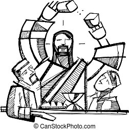 Eucharist Shared Bread - Hand drawn vector illustration or...