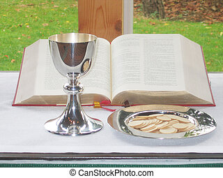 Eucharist - A eucharist with a chalice and paten