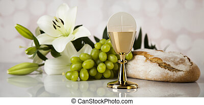 Eucharist symbol of bread and wine, chalice and host, First...