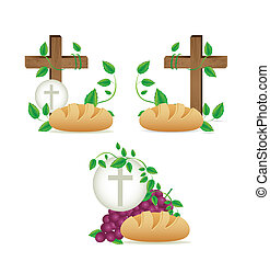 Illustration of Jesus Christ, Eucharist and the sacrament of communion, vector illustration