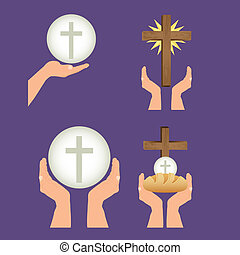 Eucharistic sacrament - Illustration of Jesus Christ,...