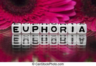eufori, text, med, blomningen