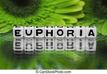 eufori, textmeddelande, med, grön, blomningen