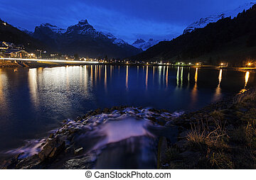Eugenisee Lake and Engelberg at sunet - Eugenisee Lake and...