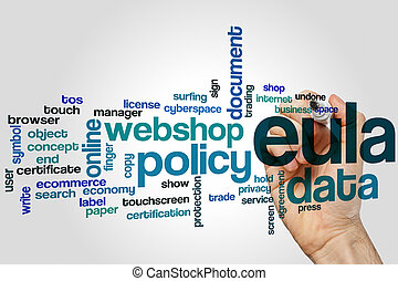 EULA word cloud concept on grey background