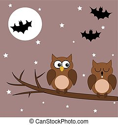 eule, halloween, zweig, nacht