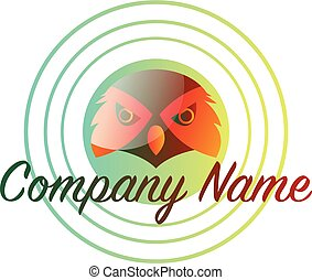 eule, logo, text, innenseite, vektor, design, hintergrund, leer, orange, grün, kreis, weißes