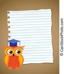 eule, schule, zurück, papier, runzelig, liniert