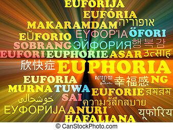 Euphoria multilanguage wordcloud background concept glowing...