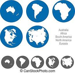 eurázsia, észak-amerika, afrika, ausztrália, déli