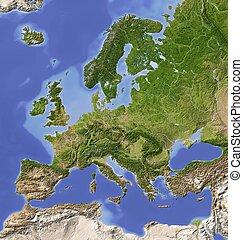 európa, árnyékolt, domborzati térkép