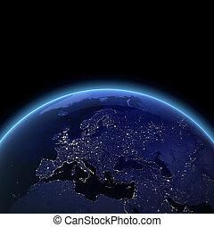 európa, éjszaka, kilátás