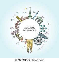 európa, egyenes, mód, emlékmű