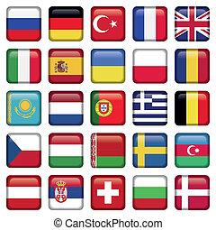 európa, ikonok, egyenesen, zászlók