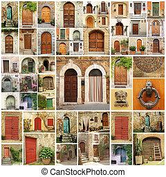 európa, kollázs, ajtók, olasz