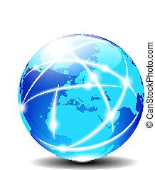 európa, kommunikáció, globális, bolygó