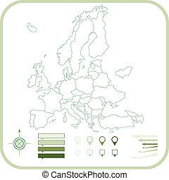 európa, térkép, vektor, illustration.