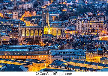 európa, város, anglia, fürdőkád, uk, bukfenc