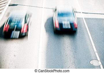 európa, város, lekvárok, autók, -, indítvány, wroclaw, utca, forgalom, elhomályosít, legnagyobb
