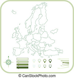 európa, vektor, illustration., térkép