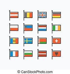 európa, zászlók, rész, 1