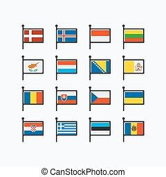 európa, zászlók, rész, 2.