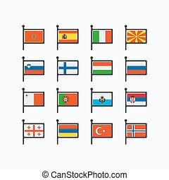 európa, zászlók, rész, 3