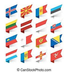 európa, zászlók, világ