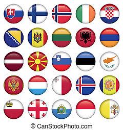 európai, gombok, kerek, zászlók