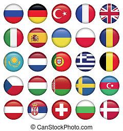 európai, ikonok, kerek, zászlók