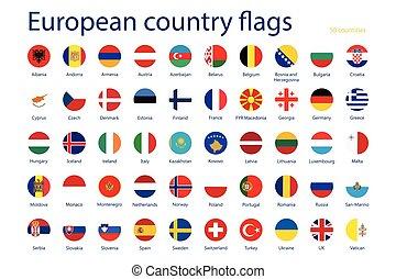 európai, ország, zászlók