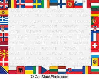 európai, országok, lobogó, ikonok, keret