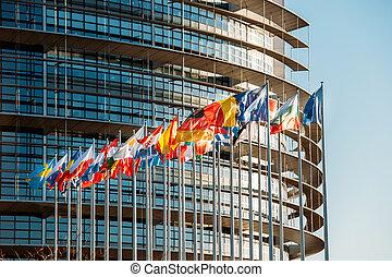 európai, parliamentfrontal, zászlók