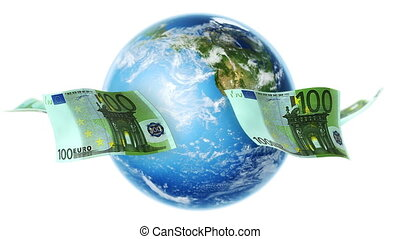 100 Euro banknotes flying around rotating Earth. Seamless loop.