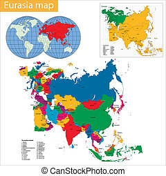 Eurasia Map - map of Eurasia drawn with high detail and...