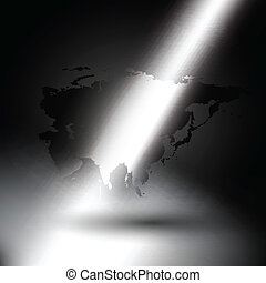 Eurasia map in rays of light on gray background