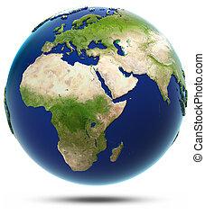 eurasia, modelo, -, áfrica, terra