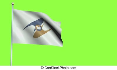 Eurasian Economic Union Flag in 3D render with green screen background in Slow Motion