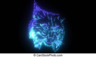 Eurasian lynx. digital neon video - Eurasian head lynx ...