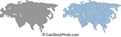 eurasie, carte, pointillé, abstractions