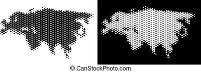 eurasie, halftone, pointillé, carte
